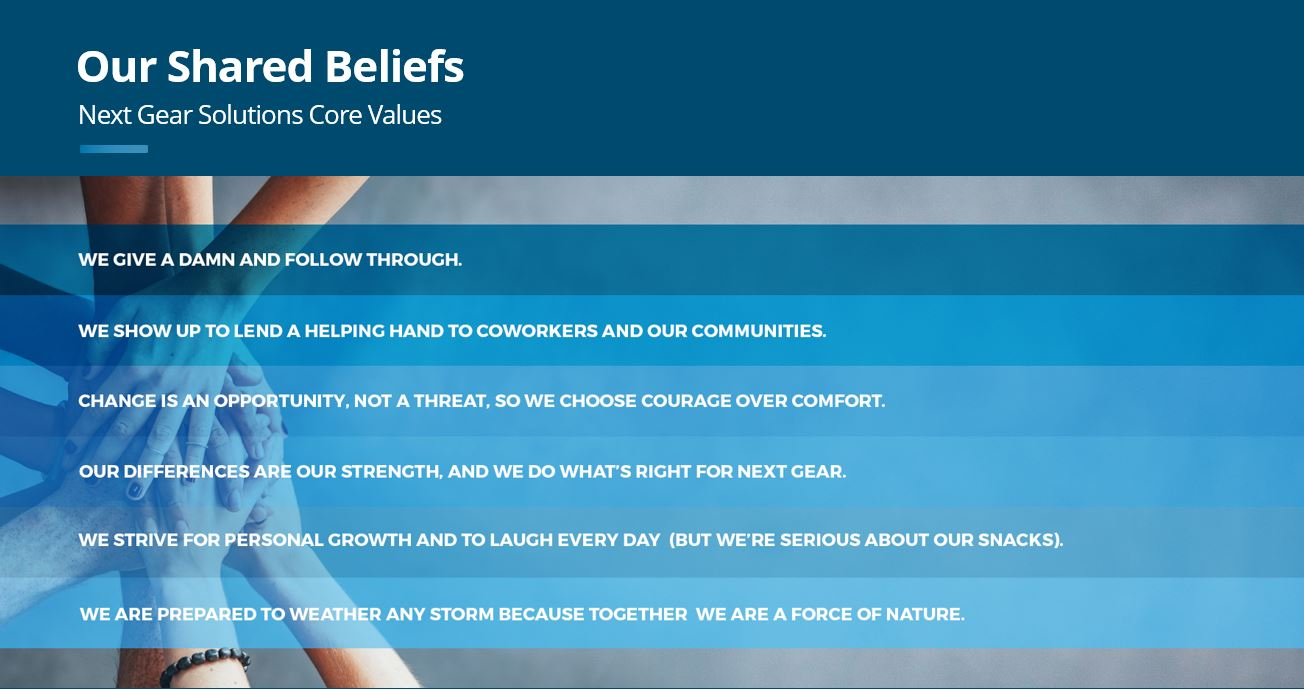 Next Gear Core Values