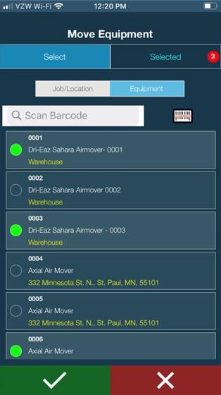 DASH mobile move equipment screen